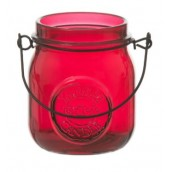 Yankee Candle Jam Jar Tea Light  Holder Maroon
