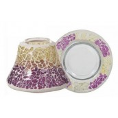 Yankee Candle Purple & Gold Crackle Small Shade & Tray