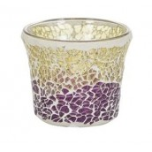 Yankee Candle Purple & Gold Crackle Votive Holder