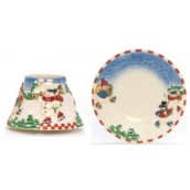 Yankee Candle Skating Snowmen Small Shade & Tray