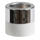 Yankee Candle White Wood & Metal Silver Tea Light Holder