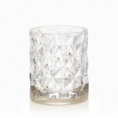 Yankee Candle Langham Votive Holder - Metallic Band in Clear Faceted Glass