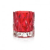 Yankee Candle Red Nordic Frosted Glass Votive Holder Red Fractal